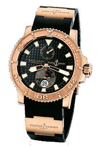 ULYSSE NARDIN MAXI MARINE CHRONOMETER 18K ROSE GOLD DIVER WATCH 266-33-3A/92