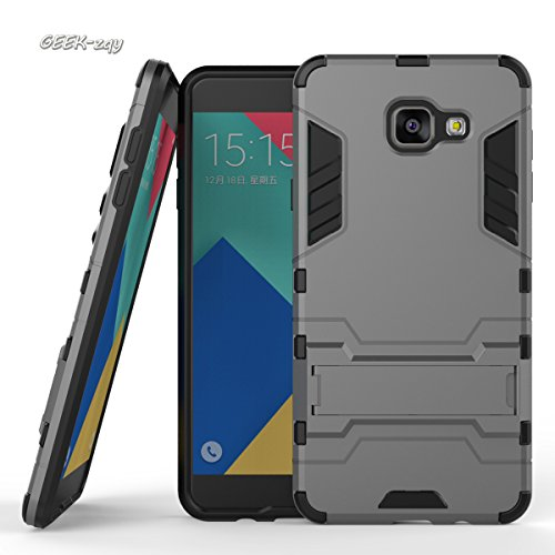 Galaxy A710Schutzhülle, Advanced Dual Layer Hybrid Armor Schutzhülle, geek-zqy Galaxy A710Fall, [Slim Fit] [verhindern Falling] Advanced Stoßdämpfung Schutz mit Ständer Funktion, Kunststoff, grau, galaxy A710