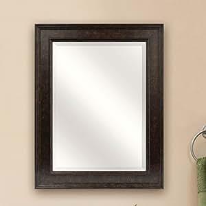 Beveled Rectangular Bathroom Vanity Mirror With Bronze Finish Frame Home Kitchen