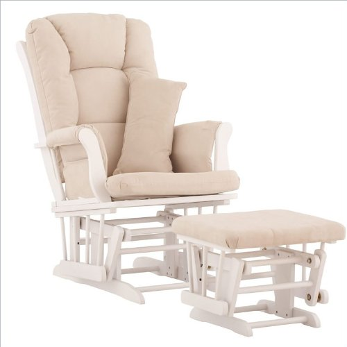 Stork Craft Custom Tuscany White Finish Glider and Ottoman with Free lower lumbar pillow, Beige Cushions