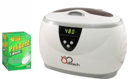 DB-Tech Sonic Sanitize Professional Ultrasonic Digital Denture Cleaning Machine - Cleans Dentures, Bite Plates or Retainers + Plus 108 Polident Double Action 3 Minute Anti-Bacterial Denture Cleanser Tablets (Denture Cleaners compare prices)
