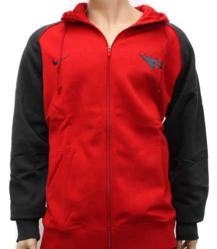 Nike Flight Mens Red/Dark Grey Basketball Hooded Sweatshirt Hoody 2XL