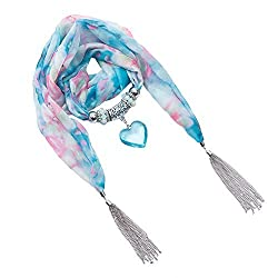 D EXCEED Women's Chiffon Floral Heart Pendant Scarf Fashion Jewelry Scarves (Blue Heart)