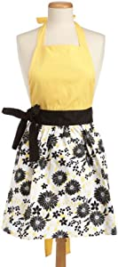 DII 100-percent Cotton Yellow And Black Daisy Print Full Apron with a Soft Yellow Bodice and Black Waist-Sash and Bow