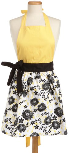 DII 100% Cotton, Trendy Skirt Blue Daisy Kitchen Apron With Adjustable Neck & Waist Ties, Cute Chef Apron Is Machine Washable And Can Be Used For Embroidery, Perfect for Cooking, Baking, Crafting & More, Snapdragon Yellow