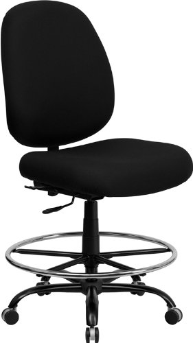 Flash Furniture Wl-715Mg-Bk-D-Gg Hercules Series 400-Pound Big/Tall Black Fabric Drafting Stool With Extra Wide Seat