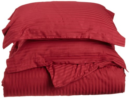 Impressions Genuine Egyptian Cotton 400 Thread Count Full/Queen 3-Piece Duvet Cover Set Stripe, Burgundy front-1035320