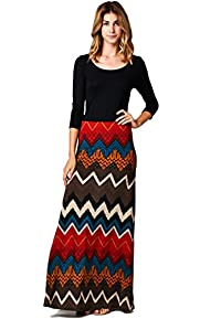 LeggingsQueen Women's 3/4 Sleeve Solid Top with Printed Maxi Dress