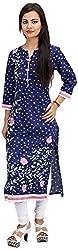 Khushi Garments Women's Cotton Regular Fit Kurta (Khushi021_L, Blue, Large)