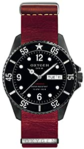 OXYGEN Moby Dick Black 44 unisex quartz Watch with black Dial analogue Display and red leather Strap EX-D-MBB-44-NL-RE