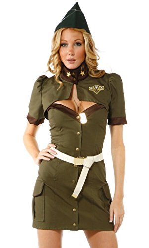 SPJ: Women Military Uniform Army Green Sexy Cosplay Costume