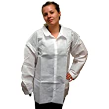 Enviroguard 60 GSM Fabric SMS Long Sleeve Shirt, Disposable, White, Medium (Case of 30)