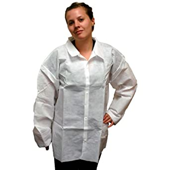 Enviroguard 60 GSM Fabric SMS Long Sleeve Shirt, Disposable, White, Large (Case of 30)