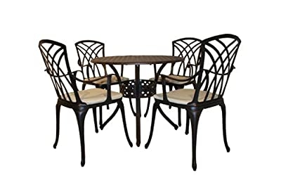 Metal Cast Aluminium 5 Piece Stamford Garden Furniture Patio Set With Cushions
