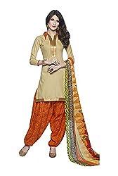 Rudra Textile Women's Beige Cotton Punjabi Suit