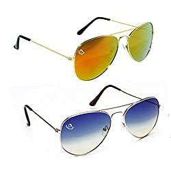Aventus Combo of Summer Blue & Mirrored Gold Brown Aviator Unisex COMS02S06