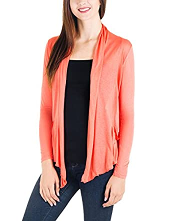 CC Junior's Lightweight Buttonless Cardigan in Many Colors (Small, Coral)