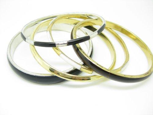 5 Black Gold White & Silver, Enamel Finish Bangles
