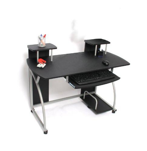 Jugend-Schreibtisch Computertisch Bürotisch Ohio, ca 90x115x55cm ~ schwarz kaufen