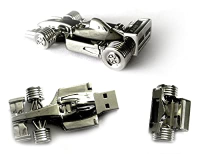 2GB Novelty Silver Racing Car Flash Drive in Black Gift Box from OEM