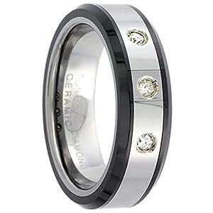 Revoni Tungsten Carbide 3-Stone Diamond 6 mm Wedding Band Ring For Her 0.10 cttw Black Ceramic Inlay Beveled Edges, size J