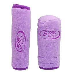 Banggood 2 Pcs Soft Plush Car Handbrake Gear Shift Knob Cover Pad Sleeve Purple