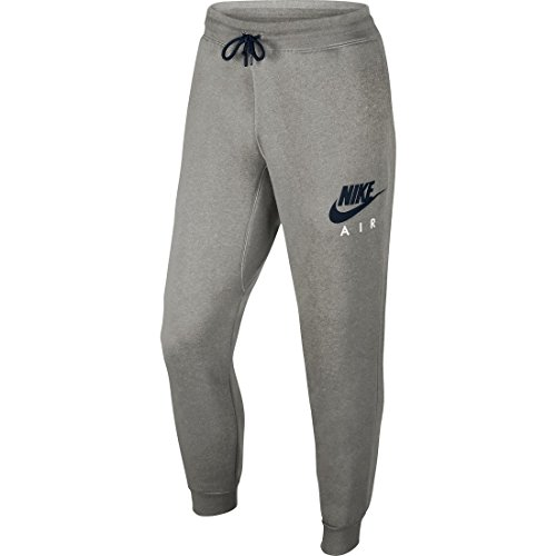 Nike Aw77 Flc Cuff Pt-Air Htg Pantaloni, Dark Grey Heather/Obsidian, L