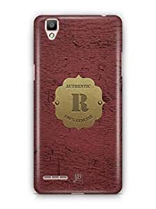 YuBingo Monogram with Beautifully Written Wooden and Metal (Plastic) Finish letter R Designer Mobile Case Back Cover for Oppo F1 / A35