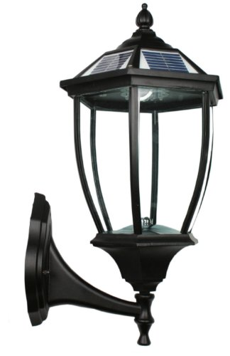 Large Outdoor Solar Powered Led Wall Light Lamp (Black-7404)
