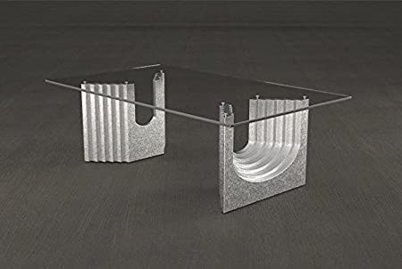 Mesa de centro base de mármol de vidrio de la sala de estar Modelo. Ulisse - Cm 110 x 65 - altura: cm 36 - Acabado: Plata
