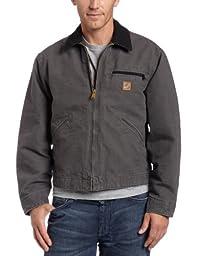 Carhartt Men\'s Blanket Lined Sandstone Detroit Jacket J97,Gravel,XX-Large