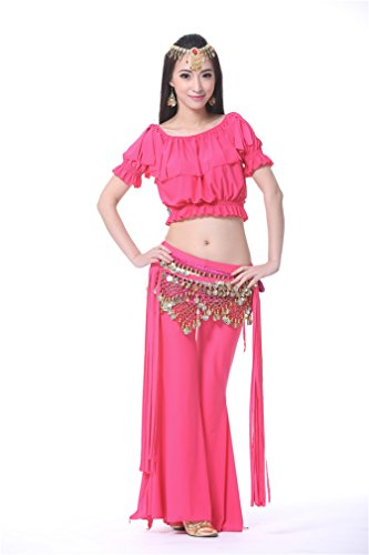 Dreamspell Belly Dance Professional Costume/Exercise Suit/3PCS, Rose Red Best Gift