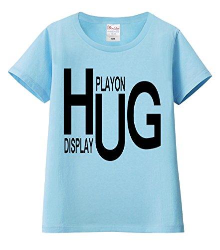 【ノーブランド品】 全24カラー レディース&ユニセックス 半袖Tシャツ【HUG・英語】 ライトブルーSサイズ