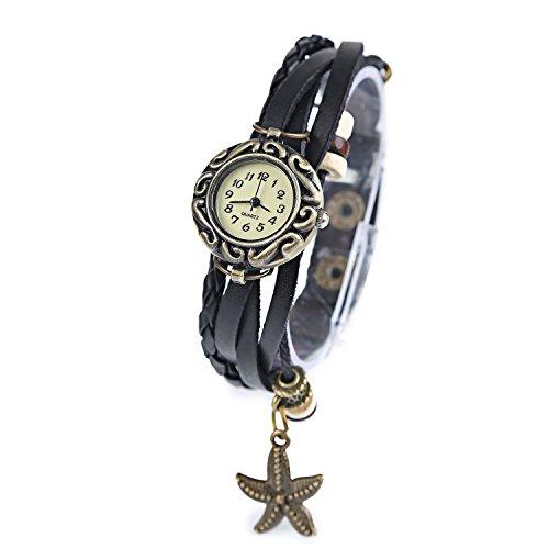 Dayan Starfish Charm Women Ladies Weave Wrap Around Leather Belt Bracelet Watch Black