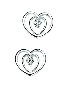 Elements Sterling Silver E3511C Ladies' Double Heart Earrings with CZ