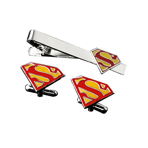 DC-Comics-Superman-Red-and-Yellow-Logo-Movie-MensBoys-Tie-BarClip-and-Cufflinks-Gift-Set-with-Gift-Box