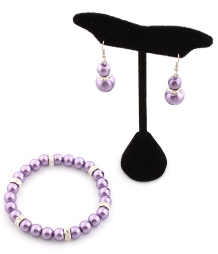 Ladies Metallic Purple Pearl Style with Iced Out Rondelle Loops Stretch Bracelet & Matching Earrings Jewelry Set
