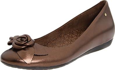 (暴跌)乐步Rockport Women's Faye Flat花朵真皮平跟鞋,亮铜色,$46.00