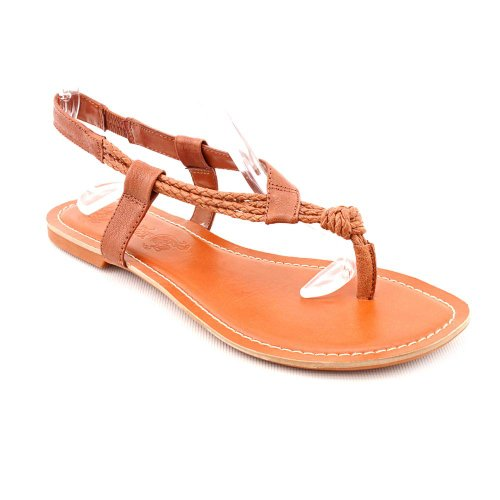 Nine West Plane Jane Open Toe Thongs Sandals Shoes Brown Womens