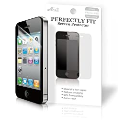 Acase Screen Protector Film Clear (Invisible) for iPhone 4 4S AT&amp;T and Verizon and Sprint (3 Pack Front + 3 Bonus Back Films)
