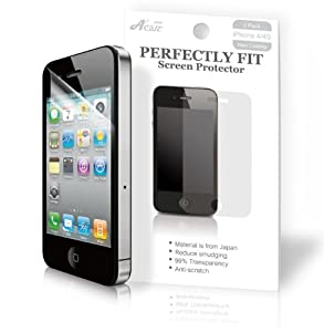 Acase Screen Protector Film Clear (Invisible) for iPhone 4 4S AT&T and Verizon and Sprint (3 Pack Front + 3 Bonus Back Films)