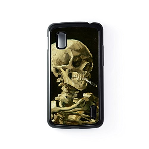 Head Of A Skeleton With A Burning Cigarette By Van Gogh Hard Plastic Case Black Snap-On Protective Back Cover For Google® Nexus 4 By Painting Masterpieces + Free Crystal Clear Screen Protector