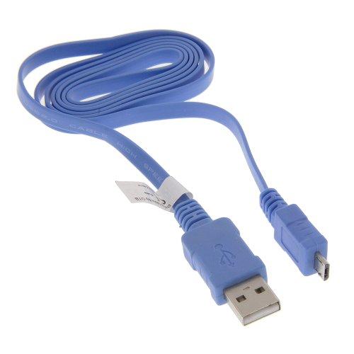 USB Datenkabel Flachbandkabel mit Ladefunktion hellblau 0,95m für LG AX155 AX300 AX500 Swift AX585 Rhythm