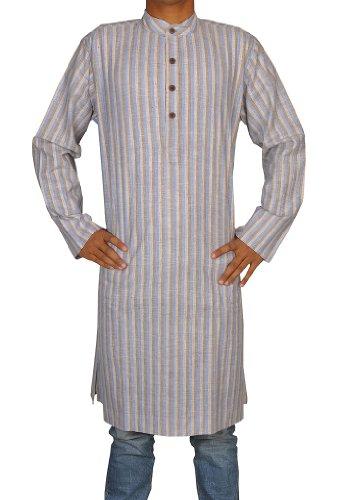 Traditional Handmade Casual Wear Indian Khadi Mens Long Kurta Fabric For Winter & Summers Size-XL