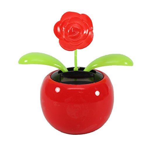 Dancing Flower ~ 1 Rose in Red Pot Solar Toy Holiday Christmas Gift Home Decor Dashboard Office Desk US Seller - 1