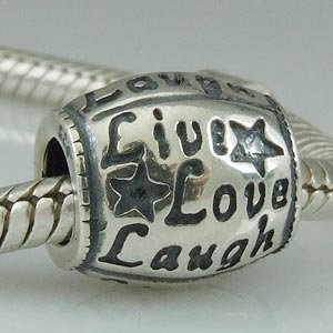 Live Love Laugh Authentic 925 Sterling Silver Bead Fits Pandora Chamilia Biagi Troll Charms Europen Style Bracelets