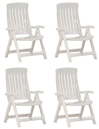 Garten Klappstühle Steiner MARINA 4er Set verstellbar Kunststoff Weiß günstig bestellen
