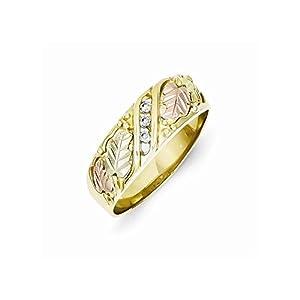 10k Yellow Gold Tri-color Black Hills Gold Mens .06ct. Diamond Wedding Band