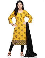 Utsav Fashion Women's Yellow Cotton Readymade Kameez With Leggings-Medium
