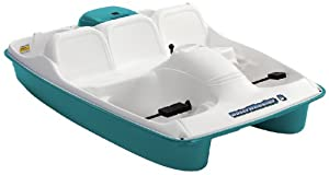 Water Wheeler 5 Seat Pedal Boat With Stainless Steel Package, Cream/Aqua